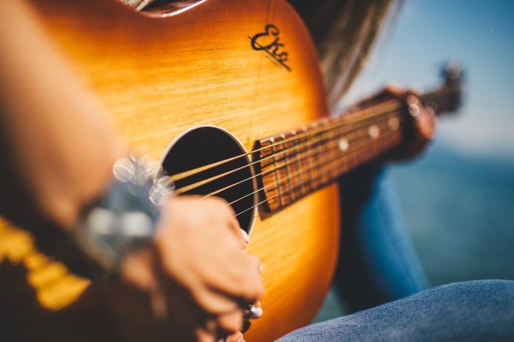 guitar, music, female