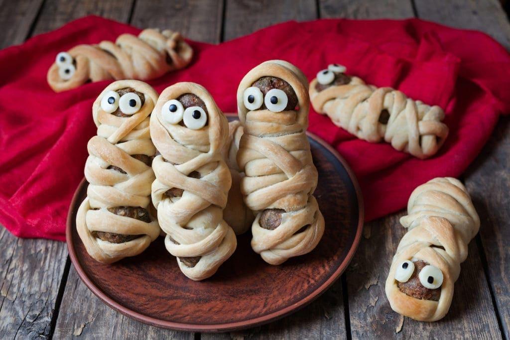 Scary halloween food meatball sausage mummies