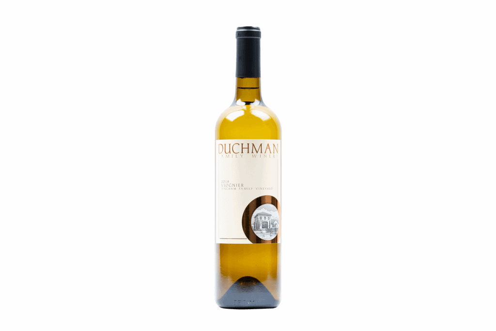 single bottle of white wine with white label and black top