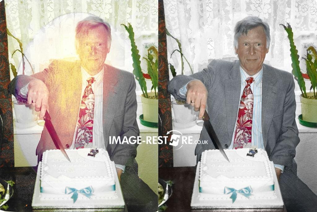 photo restoration sample of restored faded in the frame photo