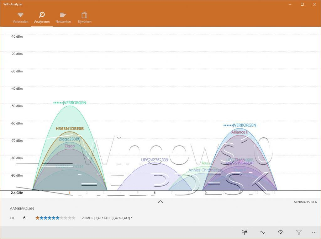 Windows 10 WiFi analyzer app