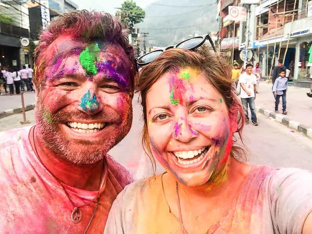 Holi celebrations in Pokhara, Nepal