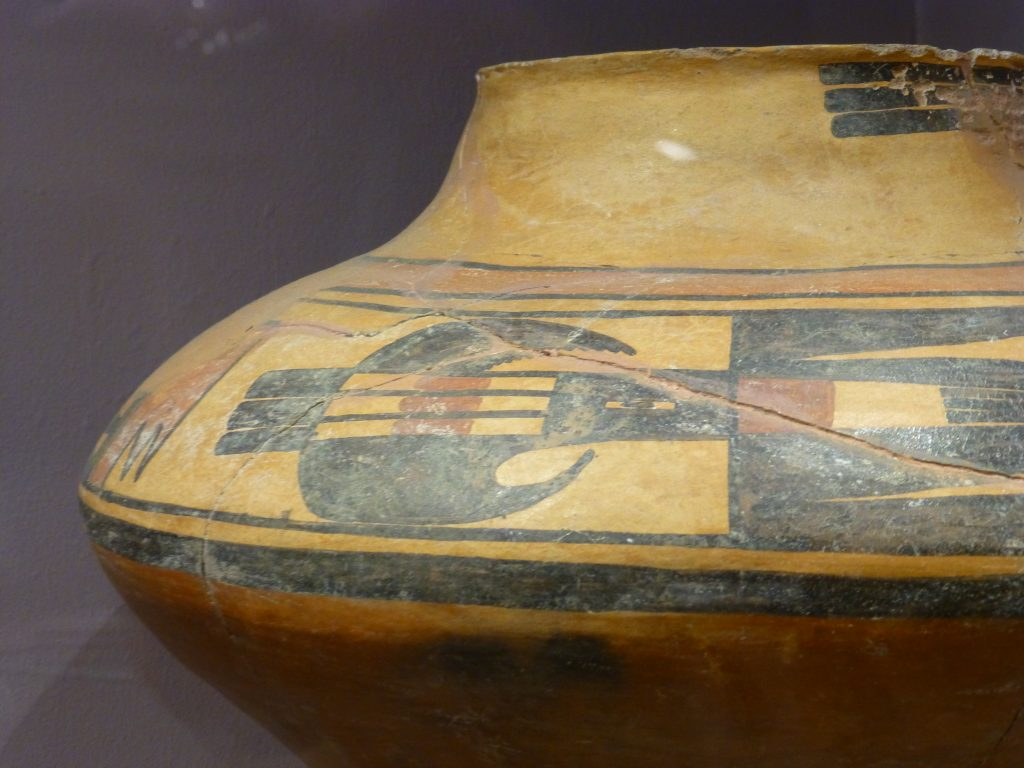 Prehistoric ceramic pot decorated with a parrot. what to do in Albuquerque? Go to Maxwell Museum of Anthropology