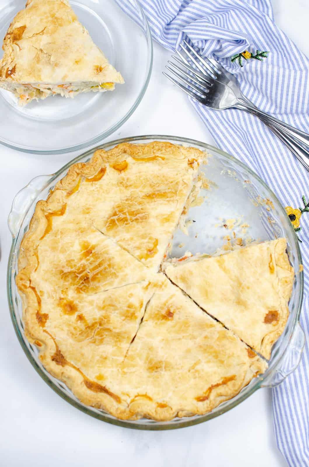 Top view of cut turkey pot pie