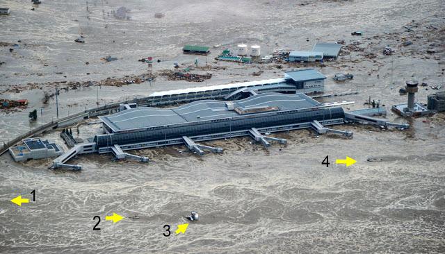Von Karman vortices in tsunami flows at Sendai airport.