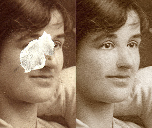 Photo restoration faces with missing pieces