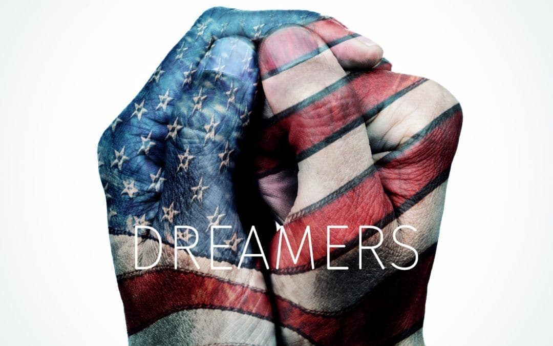 text dreamers and American flag
