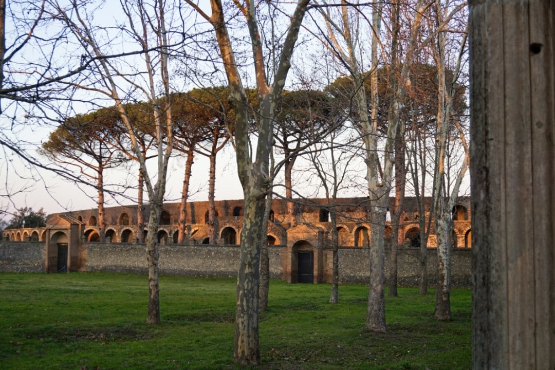 Amphitheater from the Great Palestra, Pompeii, Italy