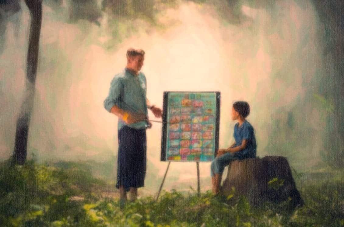 Authentic teacher authority teaching kid in nature