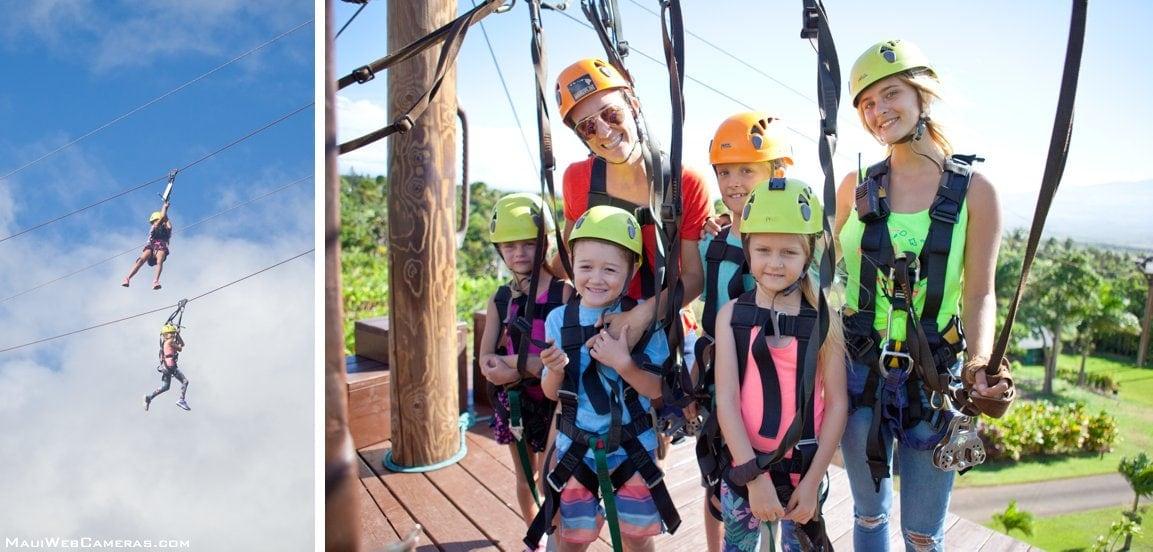 Maui ziplining with kids