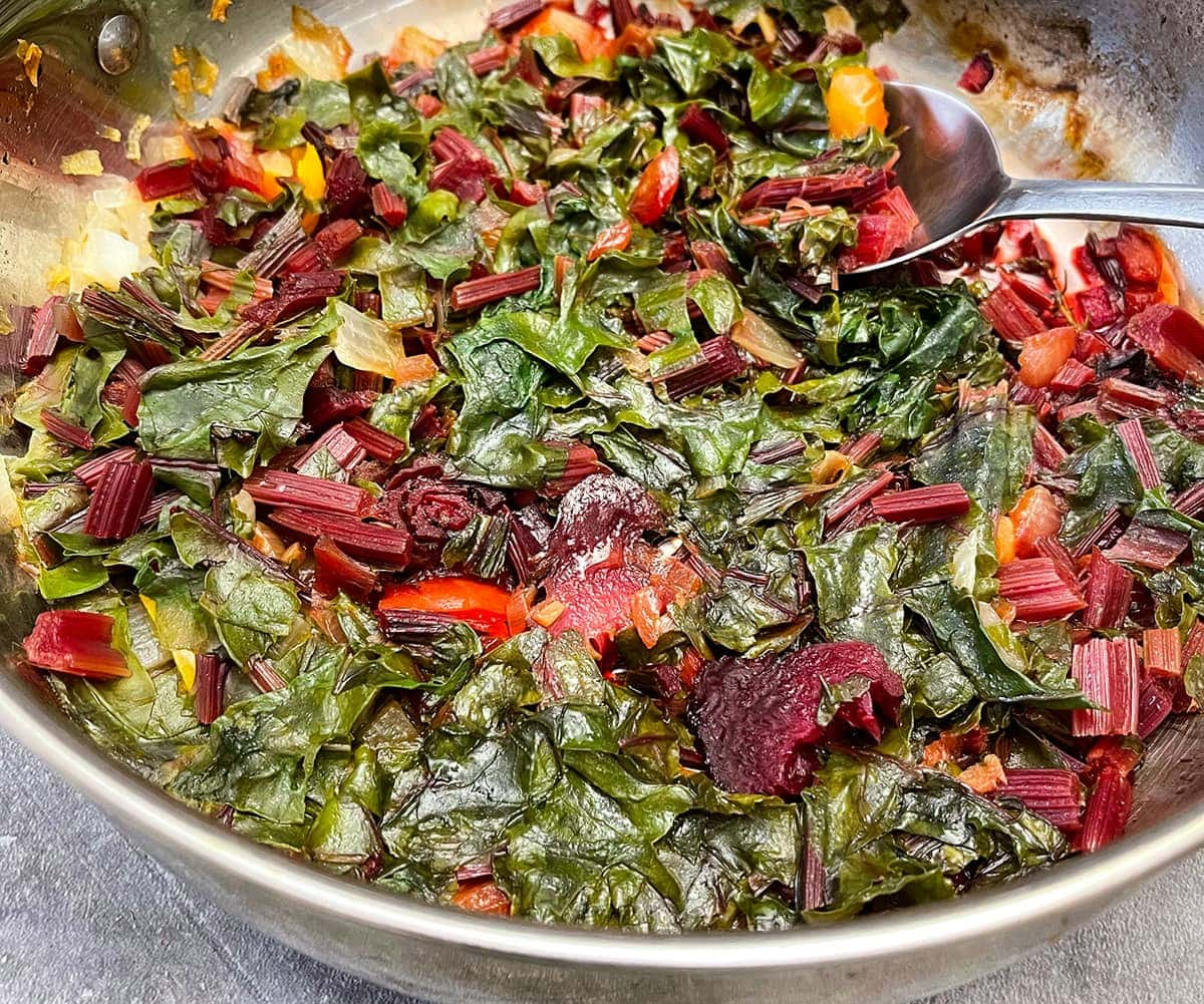 Beet greens in saucepan