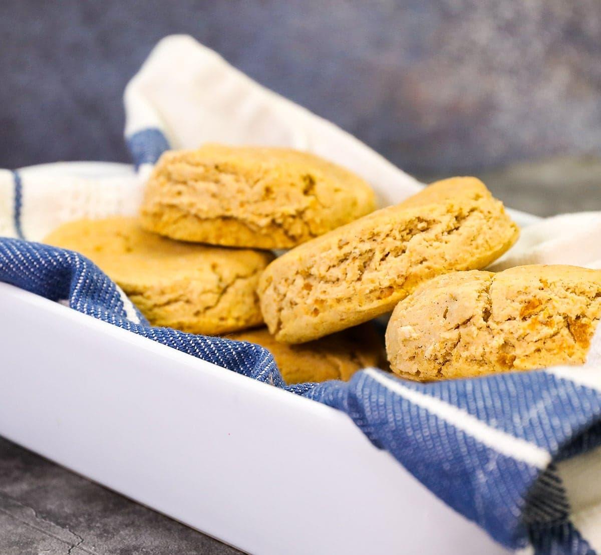 vegan sweet potato biscuit close up view