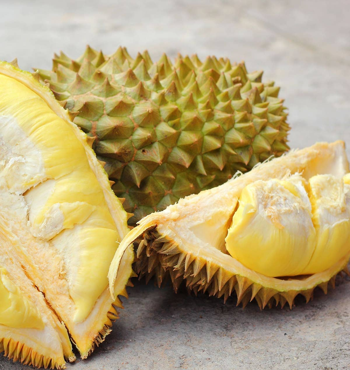 durian fruits on white backgound