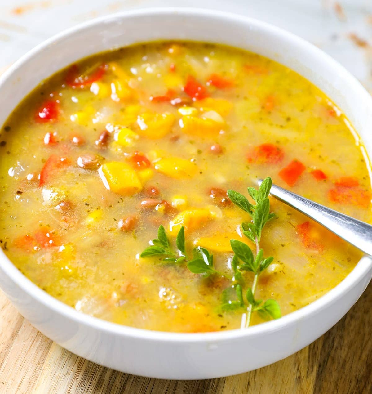 Close up view of pinto bean soup