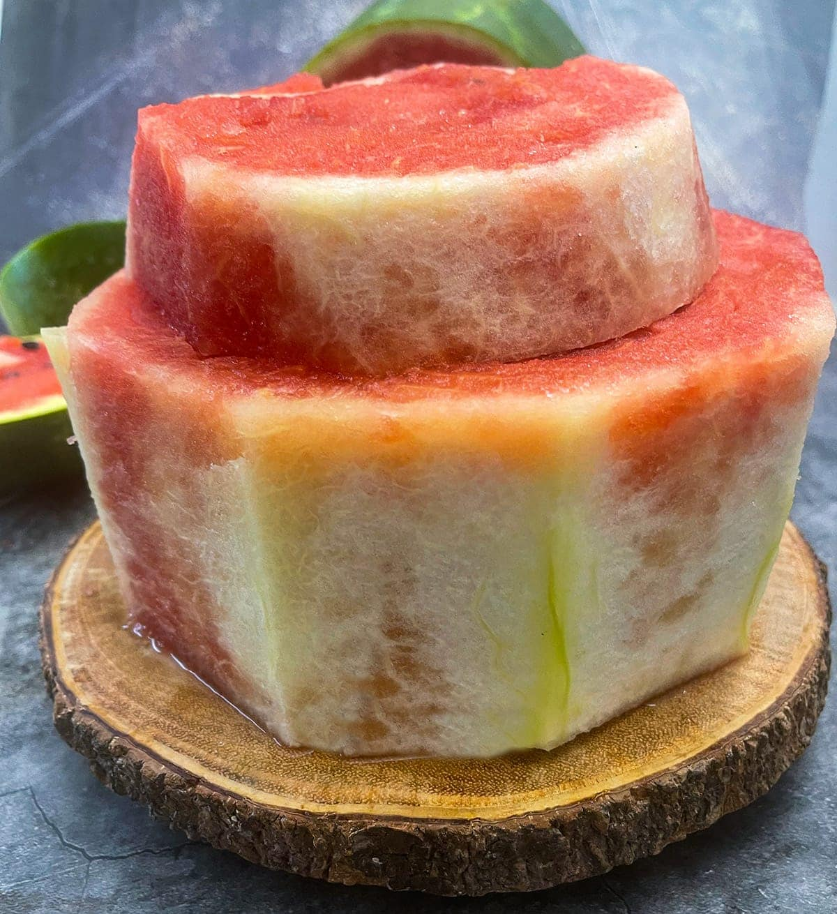 Carved watermelon layers