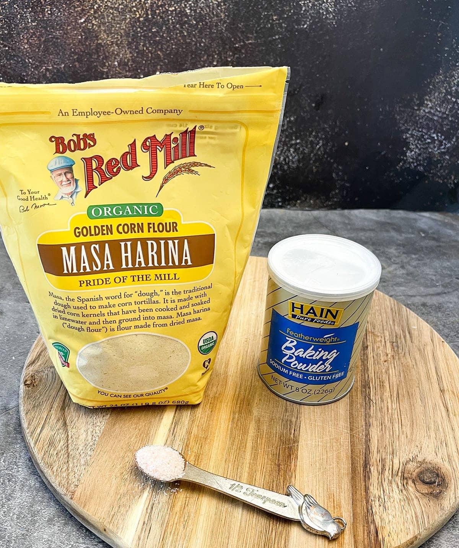 hot water cornbread ingredient, cornmeal, baking powder, salt