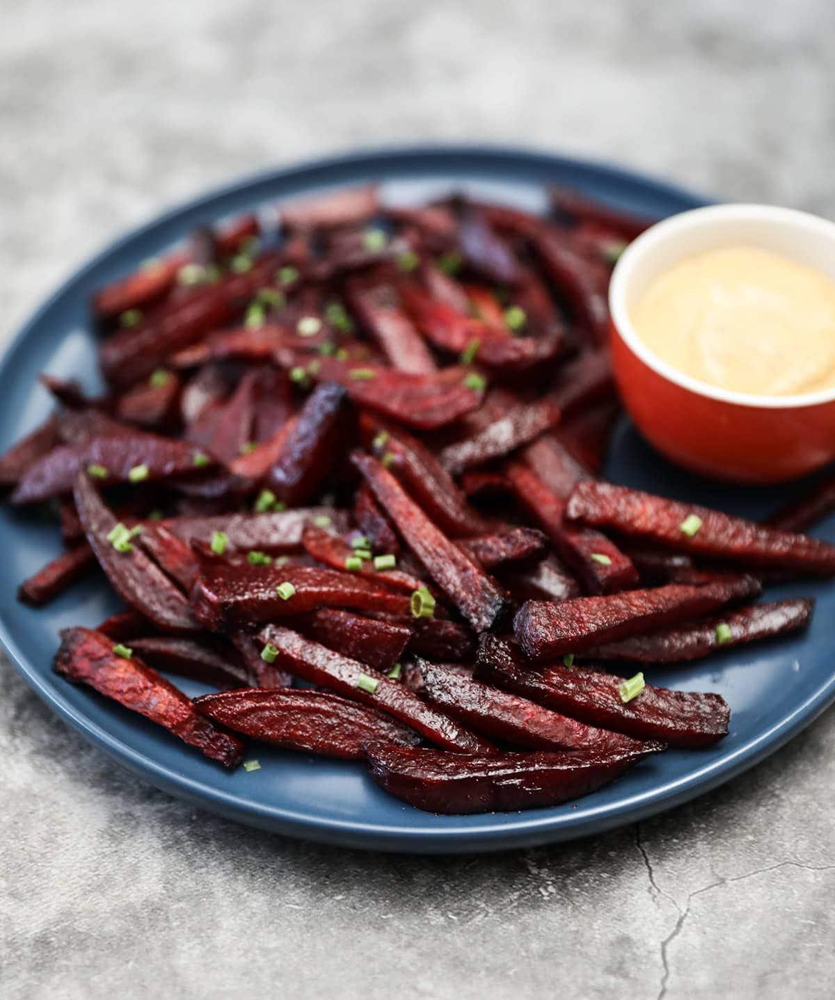 best beet fries on blue plate
