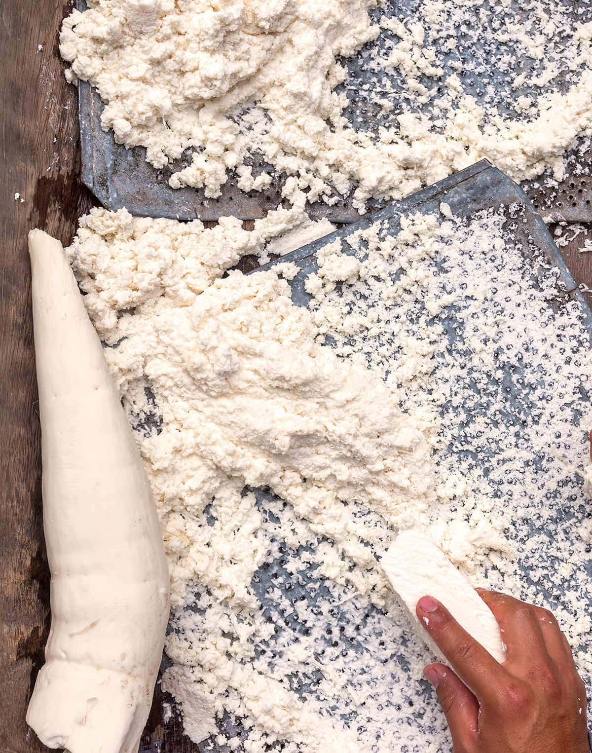 grating tapioca by hand