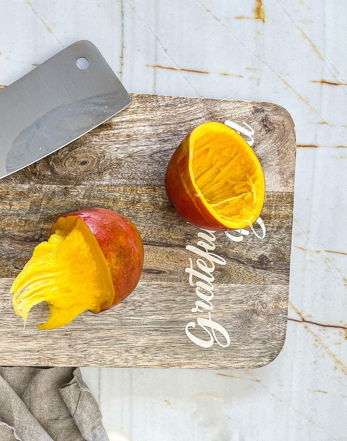 mango cut in half in a circle