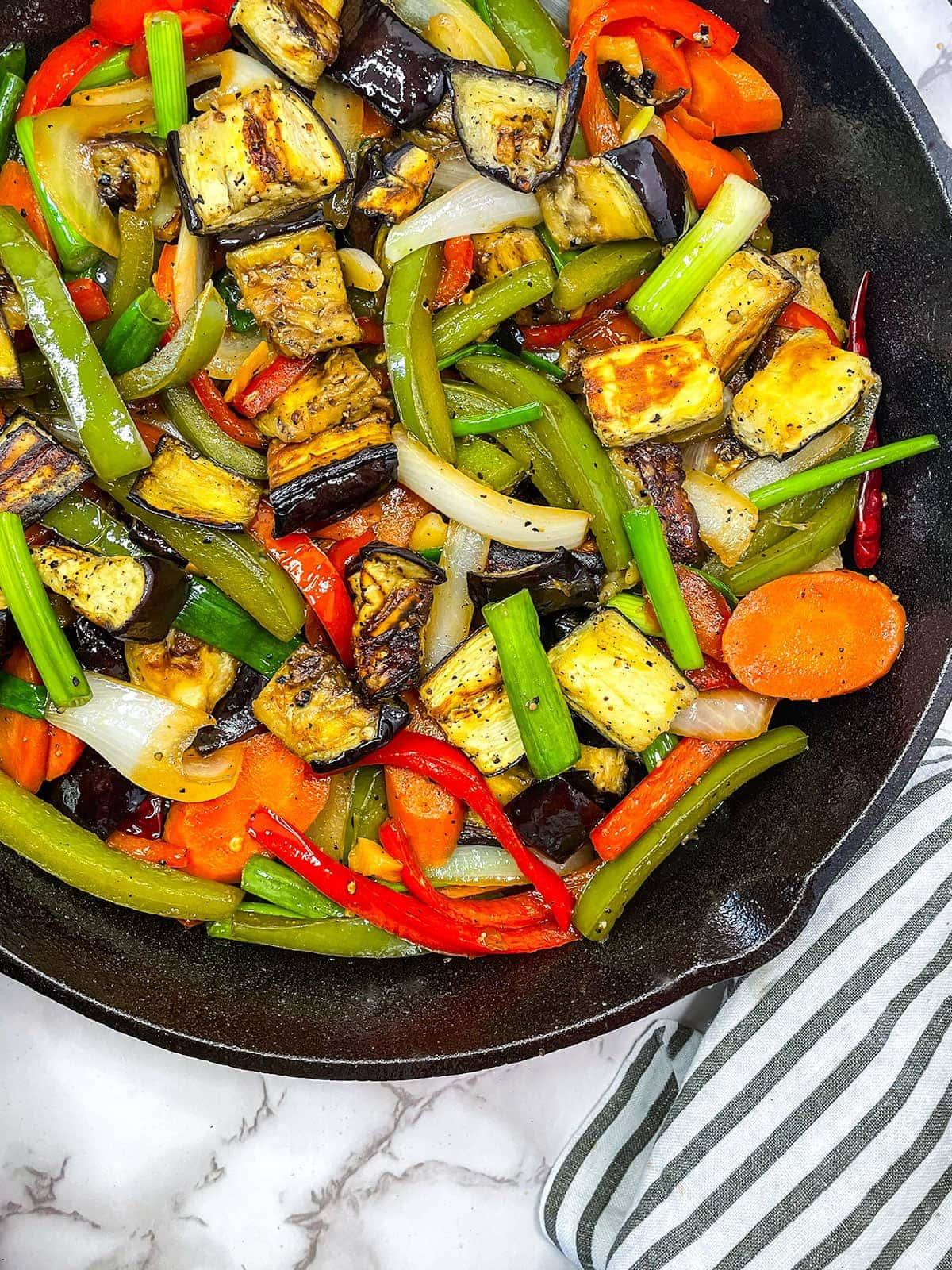 eggplant stir fry in a skillet