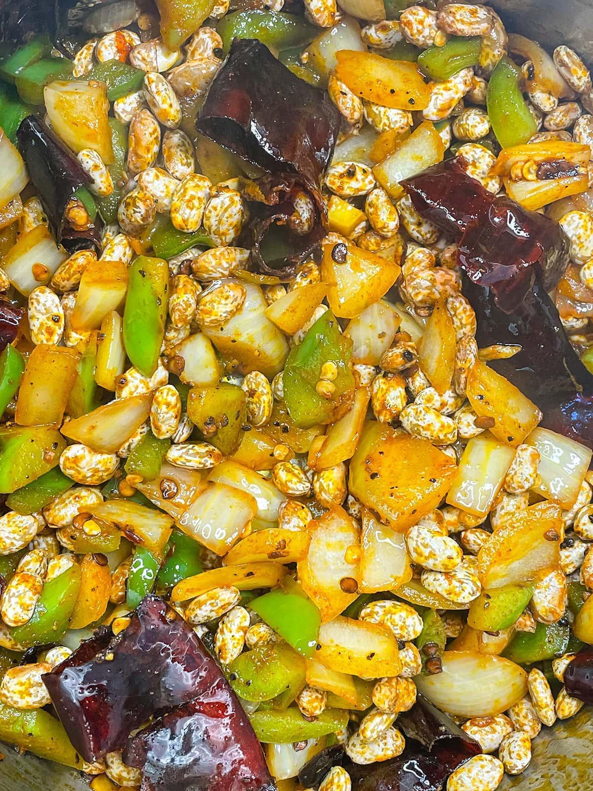 Pinto beans chipotle veggies close up