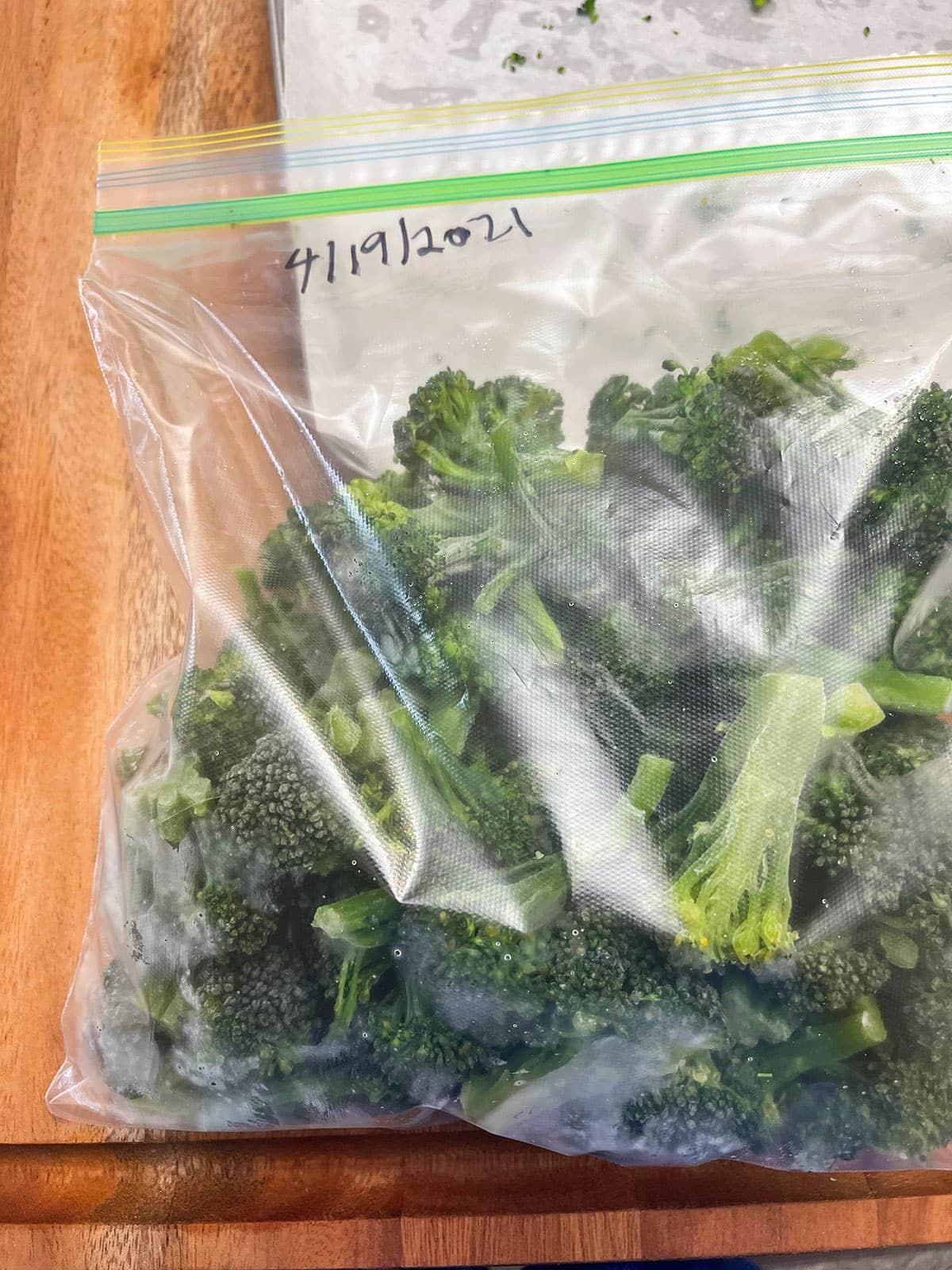 Frozen broccoli in ziplock bag