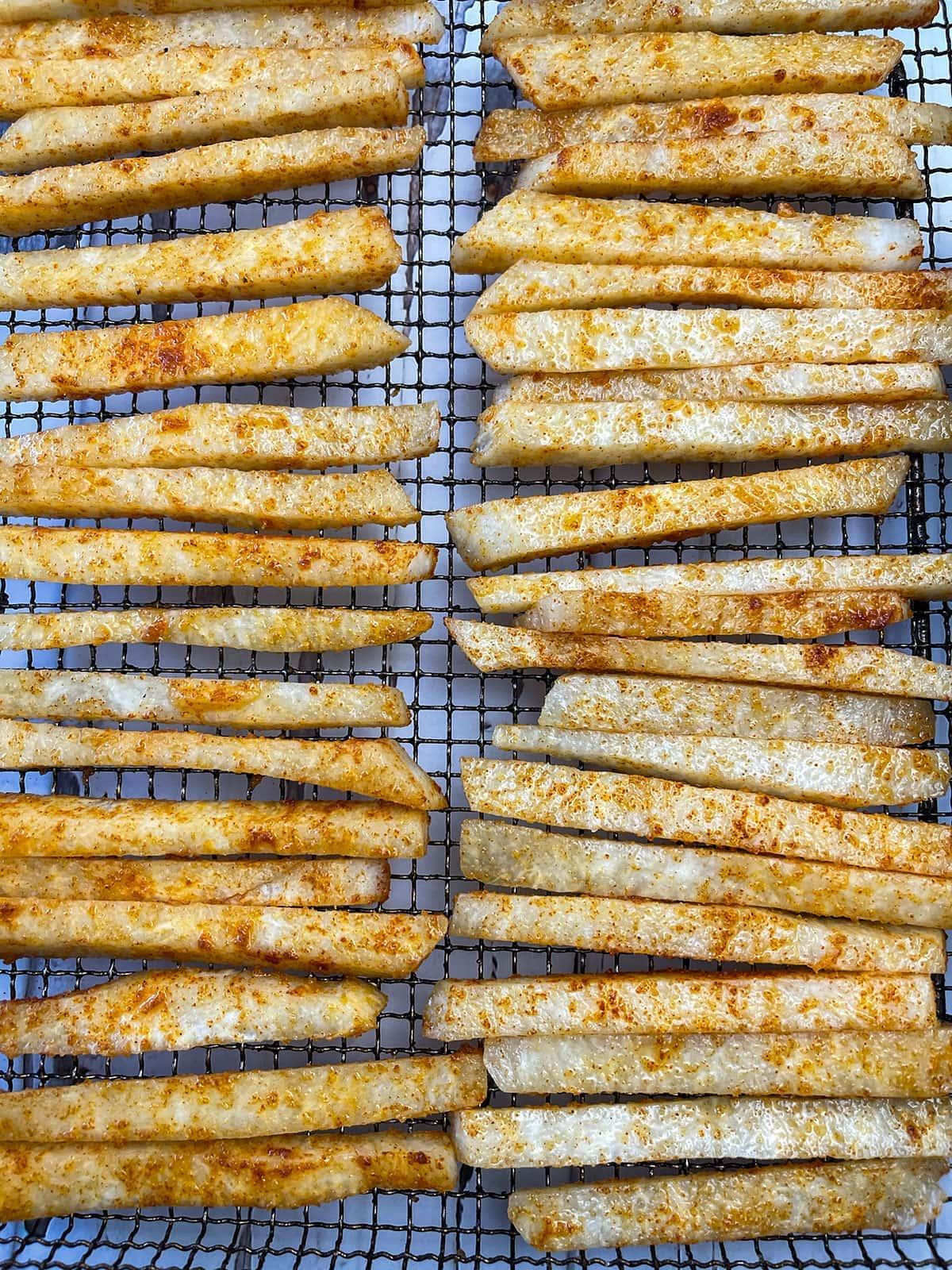 jicama fries on air fryer basket