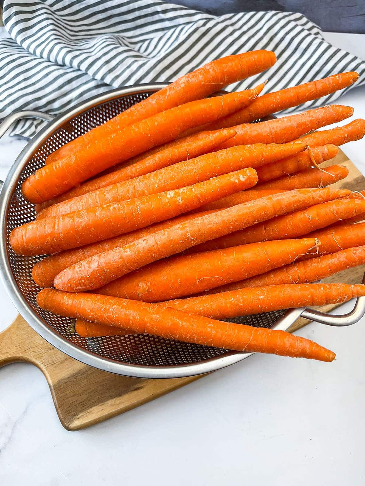 Carrots in a colander