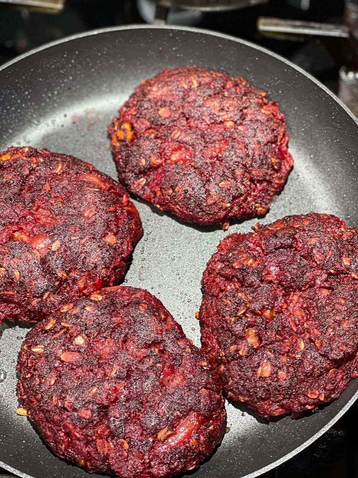 cooking beet burgers