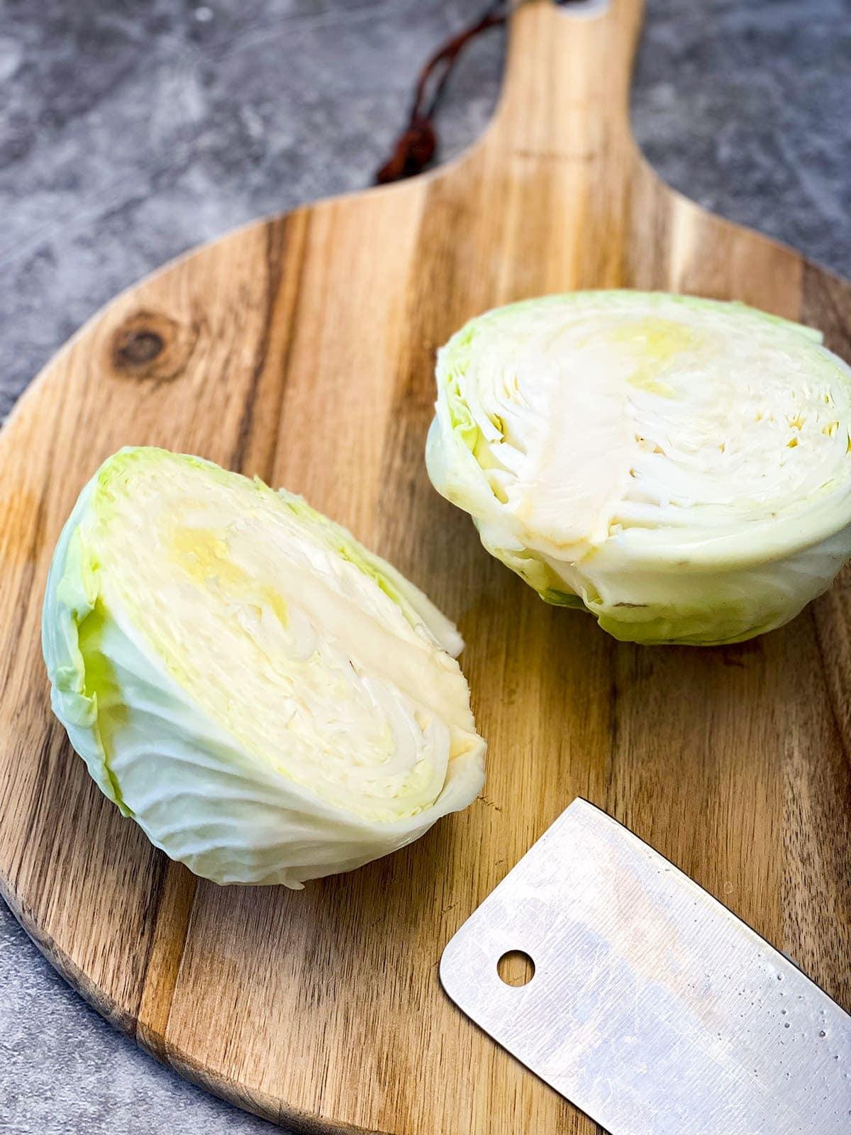 cut cabbage in half