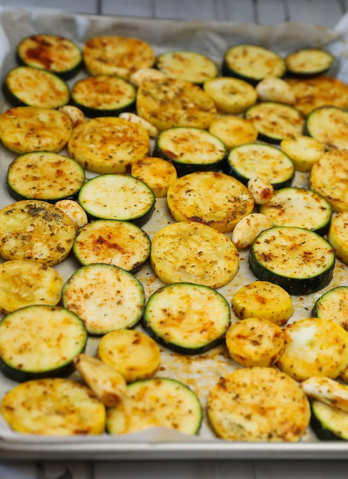 Zucchini yellow squash on baking tray