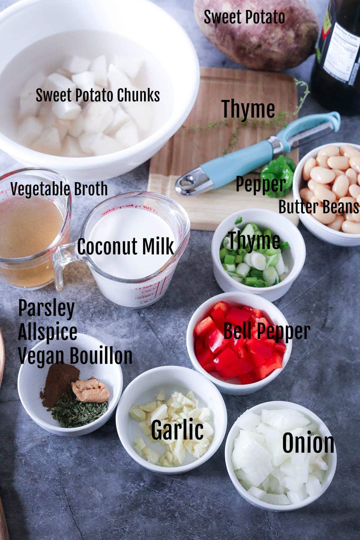 Vegan White Sweet Potato Ingredients