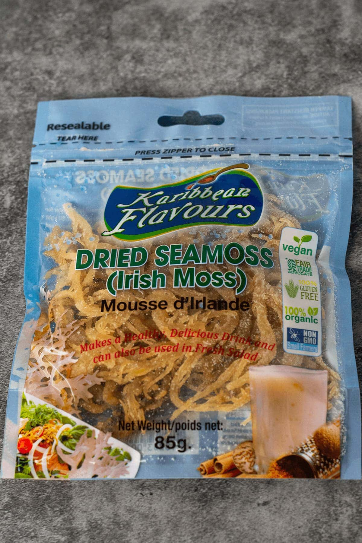 package of dried sea moss