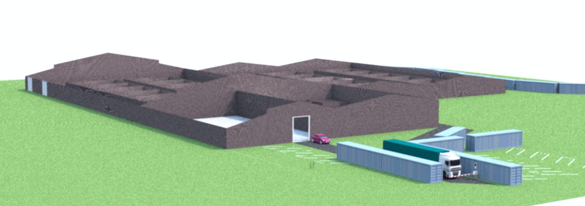 driedimensionale weergave van een schets van een productielocatie voor het experiment gesloten coffeeshopketen.