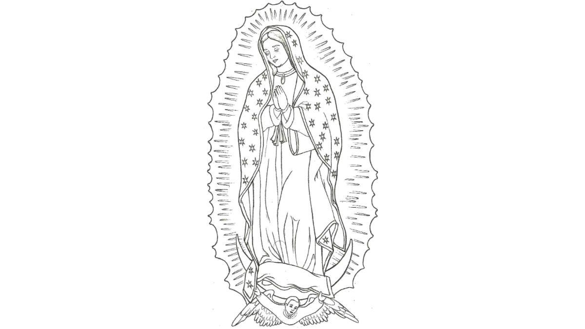 Las 4 apariciones de la Virgen de Guadalupe para Colorear