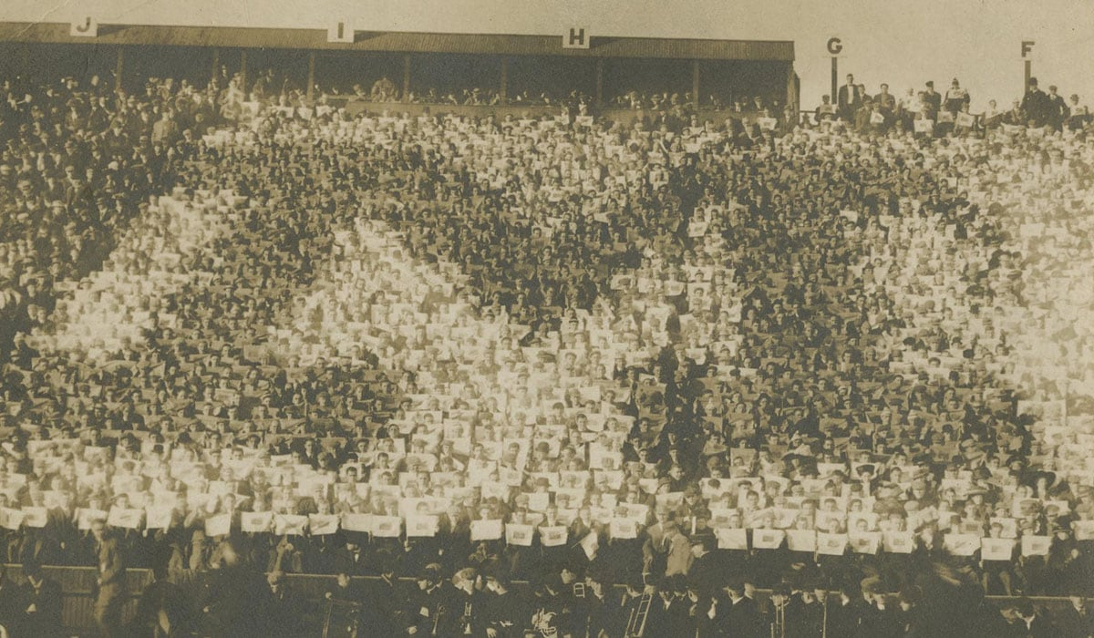 1908 Bleachers Students Make a Block M