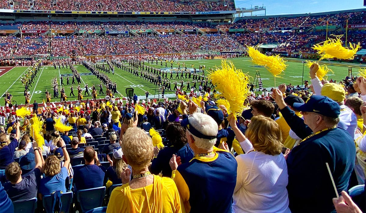 Michigan football fans look on as the Wolverines play Alabama in the 2020 Citrus Bowl at Camping World Stadium in Orlando