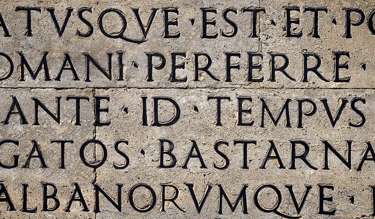 Outside Inscription From Ara Pacis, Augustus' Monument In Rome