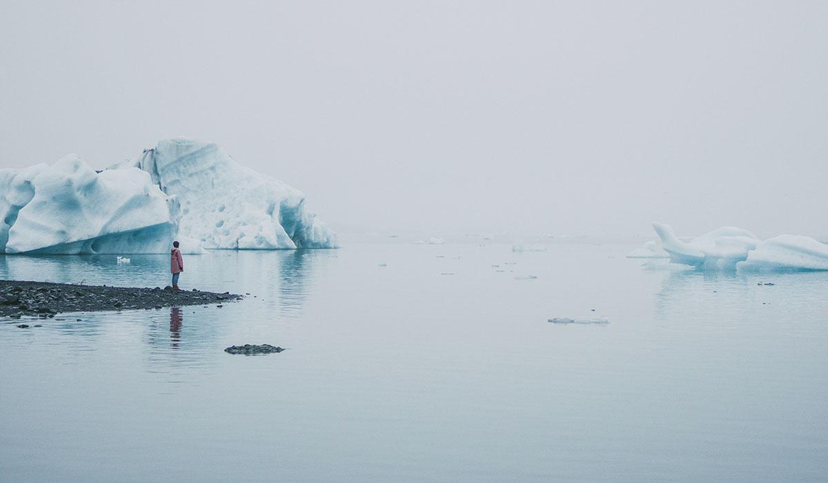 Woman Standing Near Jokulsarlon Lagoon