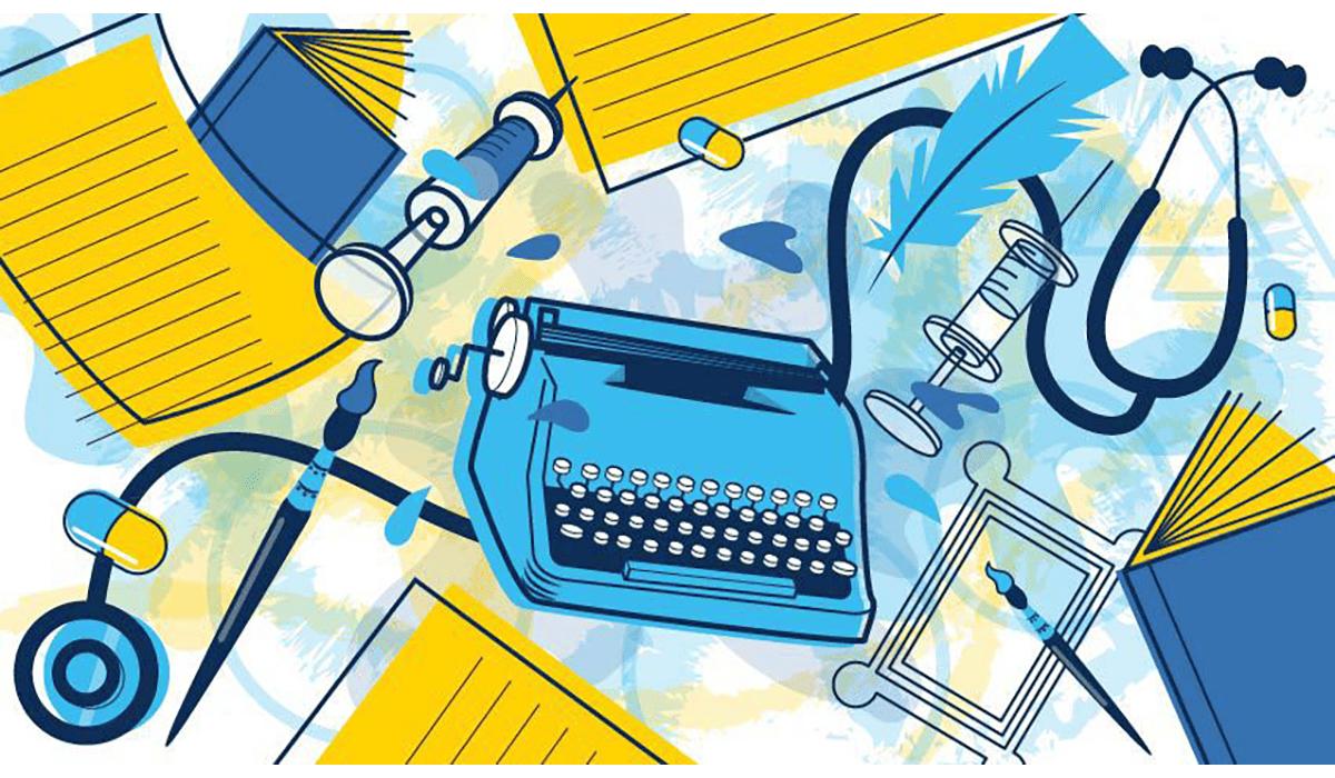 Typewriter Books Pills Art Floating Gatewayextension
