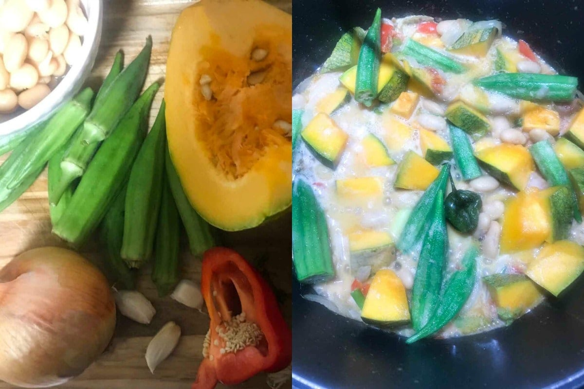 Some of the ingredients for the stew, butter bean, pumpkin, okra stew