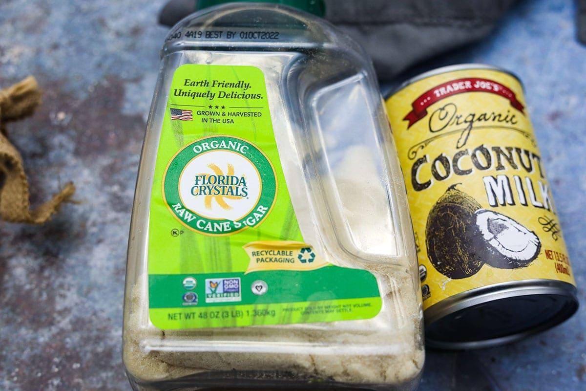 coconut milk and sugar ingredients for condensed milk