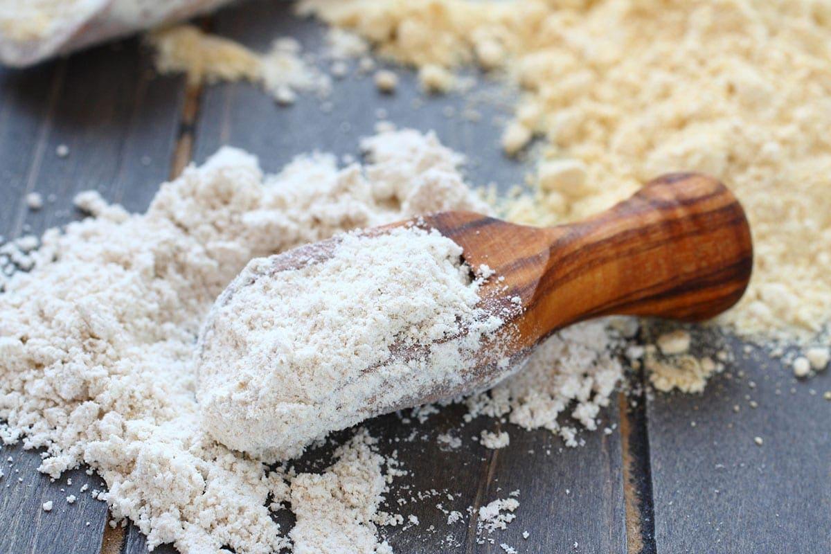 oat flour on wooden board