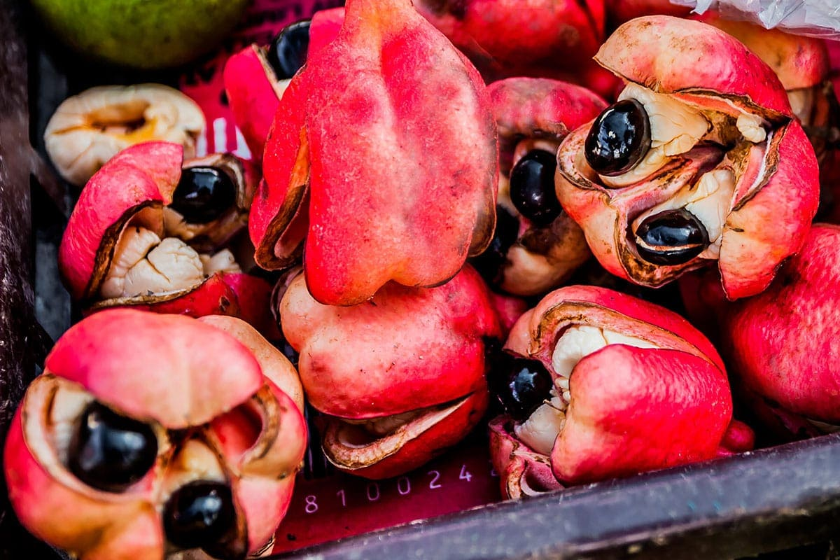 ripe ackee on a wooden background