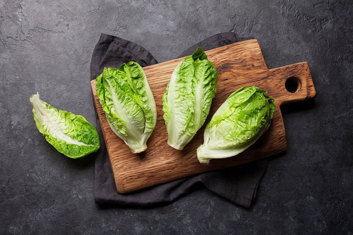 whole bunches of Romaine lettuce on wooden cutting board on a grey background