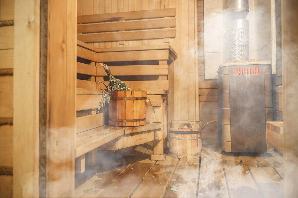 sauna benefits showing a finnish sauna