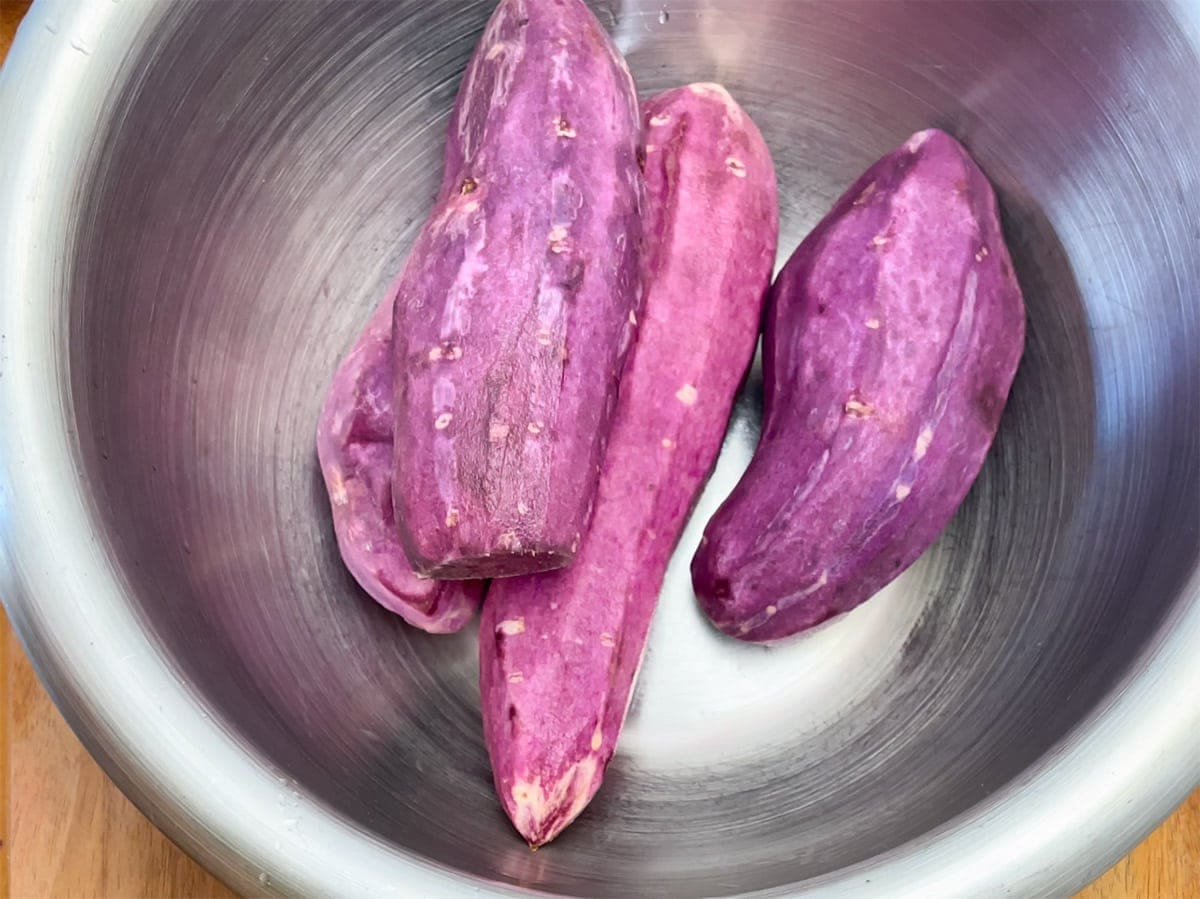 peeled purple sweet potatoes
