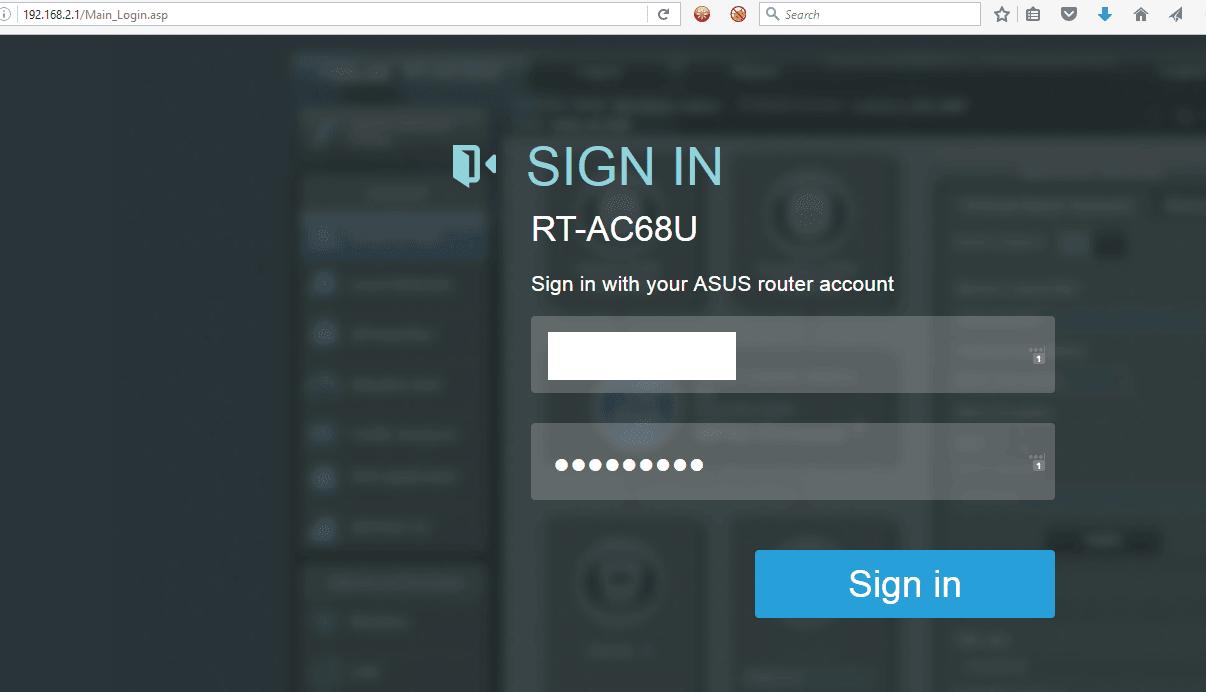 Asus router login screen