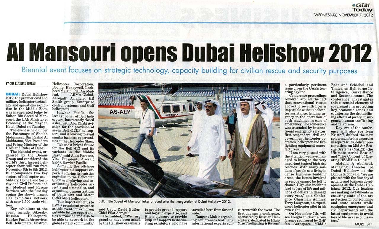 Al Mansouri opens Dubai Helishow 2012