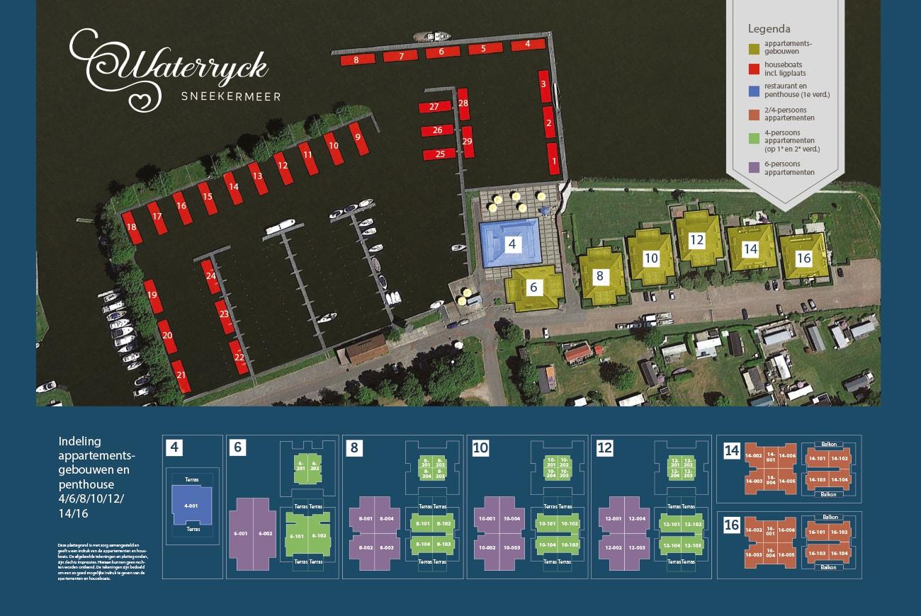 Vakantiemakelaar branding Waterrijck Sneekermeer plattegrond
